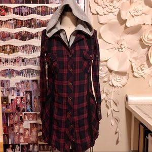 Red Plaid Lightweight Removable Hoodie Cardigan